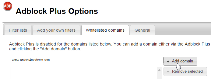 Adding a domain to whitelist and making it favourable