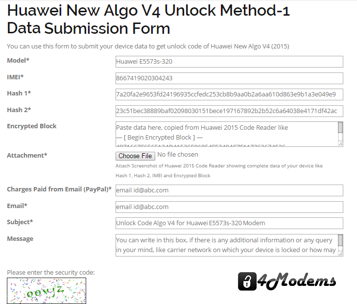 Huawei Algo V4 Data Submisson Form