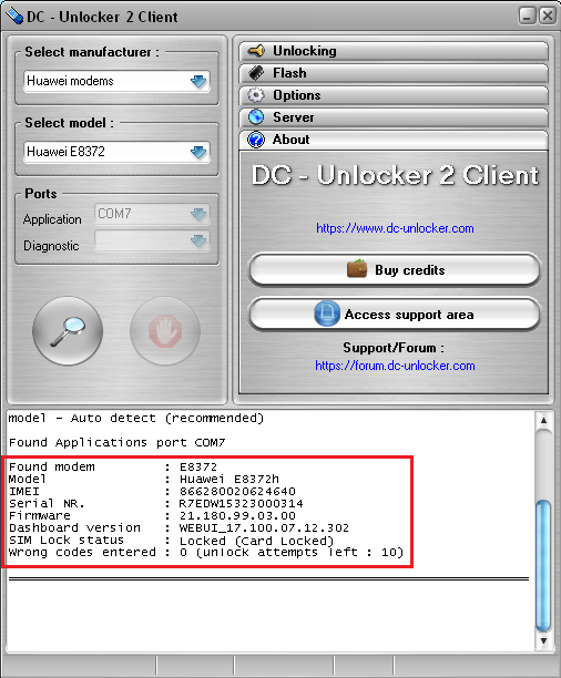 DC unlocker unlocking E with complete device information