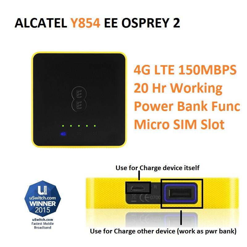 Y854VB EE Osprey 2 4G UNLOCKED 4G LTE MOBILE BROADBAND WIFI ALCATEL